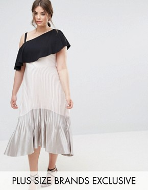 photo Tonya Pleated Metallic Maxi Dress with Hi Lo Hem by Coast Plus, color Cream - Image 1