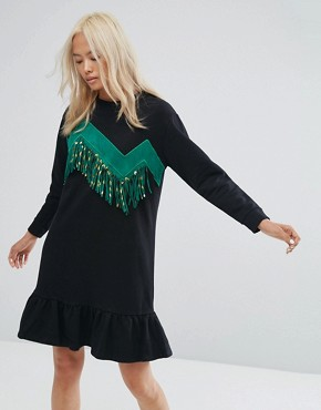 photo Sweater Dress with Zigzag Tassles by Ziztar, color Black/Green - Image 1
