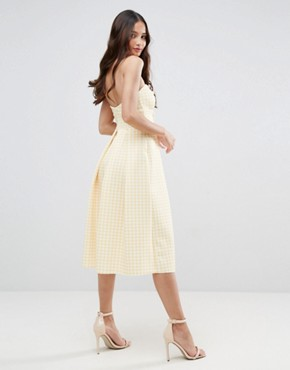 photo Scuba Gingham Bow Front Midi Prom Dress by ASOS, color Yellow - Image 2