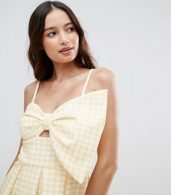 photo Scuba Gingham Bow Front Midi Prom Dress by ASOS, color Yellow - Image 3