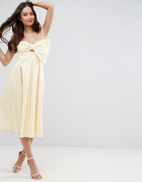 photo Scuba Gingham Bow Front Midi Prom Dress by ASOS, color Yellow - Image 1