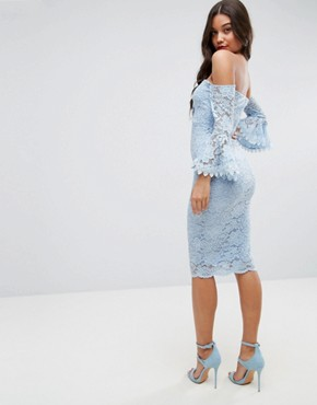 photo Lace Tie Fluted Sleeve Midi Dress by ASOS, color Baby Blue - Image 2
