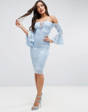 photo Lace Tie Fluted Sleeve Midi Dress by ASOS, color Baby Blue - Image 4