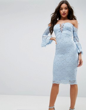 photo Lace Tie Fluted Sleeve Midi Dress by ASOS, color Baby Blue - Image 1