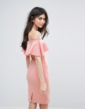 photo Bardot Midi Dress by Be Jealous, color Rose Pink - Image 2