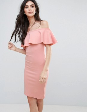 photo Bardot Midi Dress by Be Jealous, color Rose Pink - Image 1