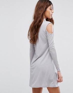 photo Ribbed Swing Dress with Tie Neck by Be Jealous, color Silver Grey - Image 2