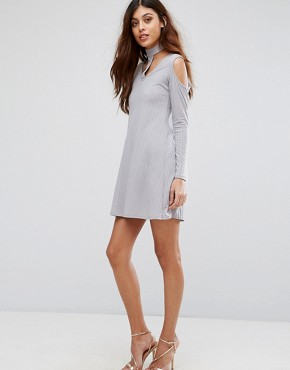 photo Ribbed Swing Dress with Tie Neck by Be Jealous, color Silver Grey - Image 4