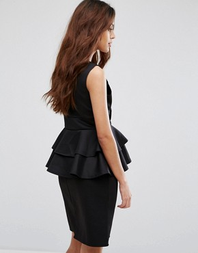 photo Midi Dress with Peplum Detail by Be Jealous, color Black - Image 2
