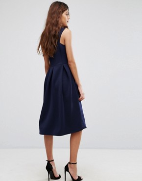 photo Skater Prom Midi Dress by Be Jealous, color Navy - Image 2