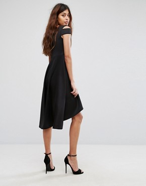 photo Skater Prom Midi Dress with Hi Lo Hem by Be Jealous, color Black - Image 2