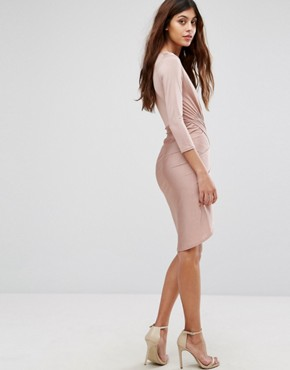 photo Slinky Wrap Front Midi Dress by Be Jealous, color Pink - Image 2
