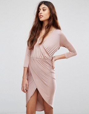 photo Slinky Wrap Front Midi Dress by Be Jealous, color Pink - Image 1