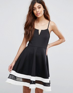 photo Skater Dress with Contrast Hem by Be Jealous, color Black - Image 1