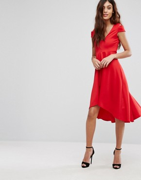 photo Skater Prom Midi Dress with Hi Lo Hem by Be Jealous, color Red - Image 1