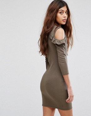 photo Cold Shoulder Dress with Frill Detail by Be Jealous, color Khaki - Image 2