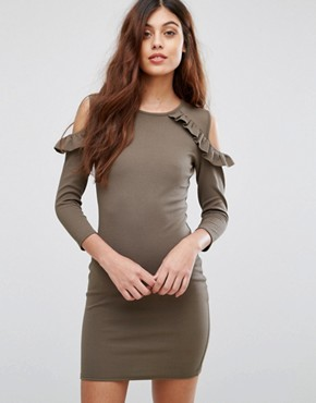 photo Cold Shoulder Dress with Frill Detail by Be Jealous, color Khaki - Image 1