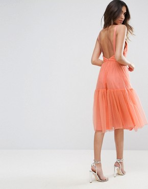 photo Tulle Midi Prom Dress by ASOS, color Coral - Image 2