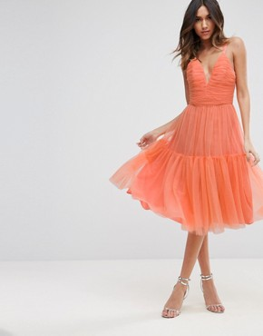 photo Tulle Midi Prom Dress by ASOS, color Coral - Image 1