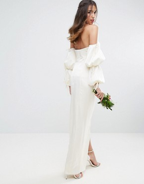 photo Oversized Sleeved Wrap Front Maxi Dress by ASOS BRIDAL, color Cream - Image 2