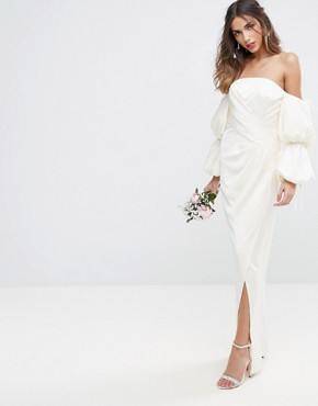 photo Oversized Sleeved Wrap Front Maxi Dress by ASOS BRIDAL, color Cream - Image 1