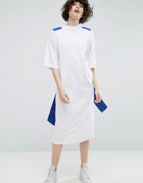 photo T-Shirt Midi Dress with Cross Elastic Back by ASOS WHITE, color White - Image 2