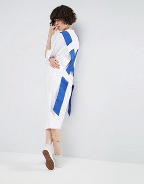 photo T-Shirt Midi Dress with Cross Elastic Back by ASOS WHITE, color White - Image 1