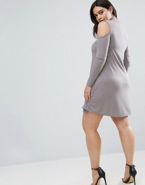 photo Ribbed Swing Dress with Tie Neck by Be Jealous Plus, color Silver Grey - Image 2