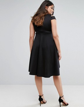 photo Skater Prom Midi Dress with Hi Lo Hem by Be Jealous Plus, color Black - Image 2