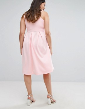 photo Skater Prom Midi Dress by Be Jealous Plus, color Baby Pink - Image 2