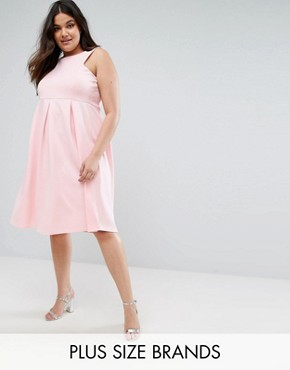 photo Skater Prom Midi Dress by Be Jealous Plus, color Baby Pink - Image 1