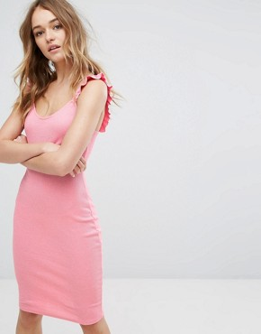 photo Ruffle Strap Midi Dress by Pull&Bear, color Bubblegum Pink - Image 1