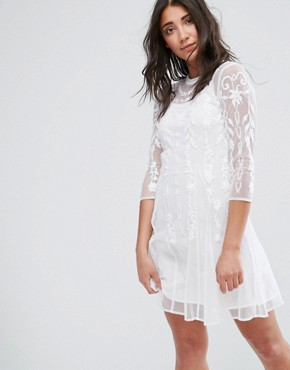 photo Midi Lace Dress with High Neck by Girls on Film, color Off White - Image 1