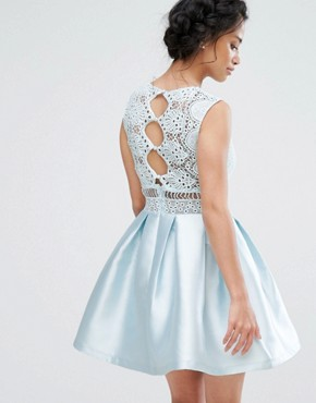 photo Lace Detail High Low Skater Dress with Button Back by Chi Chi London Petite, color Ice Blue - Image 2