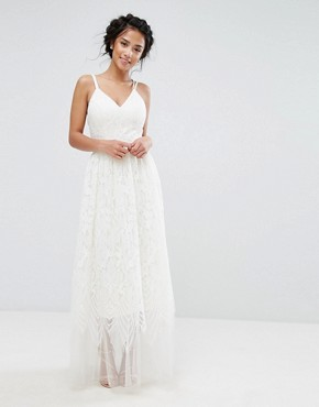 photo Lace Maxi Dress with Cami Cross Back Strap Detail by Chi Chi London Petite Premium, color Ivory - Image 2
