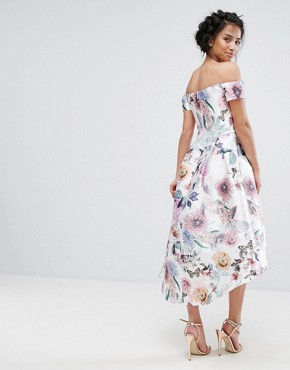 photo All Over Printed Off Shoulder Midi Dress by Chi Chi London Petite, color Nude Rose - Image 2