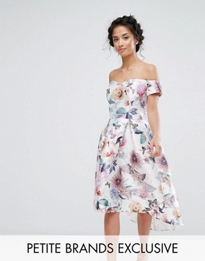 photo All Over Printed Off Shoulder Midi Dress by Chi Chi London Petite, color Nude Rose - Image 1