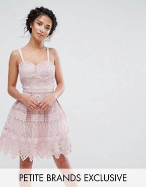 photo Panelled Lace Mini Dress with Cross Back Strap Detail by Chi Chi London Petite Premium, color Mauve - Image 1