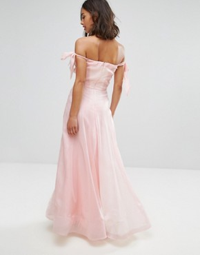 photo Floaty Maxi Dress with Bow Shoulder Detail by Chi Chi London Petite, color Nude Rose - Image 2