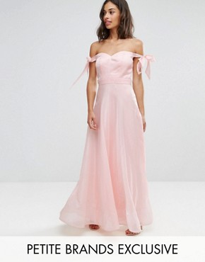 photo Floaty Maxi Dress with Bow Shoulder Detail by Chi Chi London Petite, color Nude Rose - Image 1