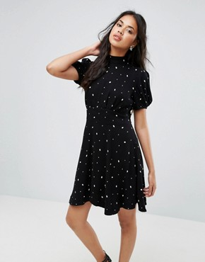 photo Abbie Printed Mini Dress by Free People, color Black Combo - Image 1