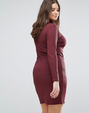 photo High Neck Bodycon Midi Dress by Pink Clove, color Purple - Image 2