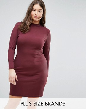 photo High Neck Bodycon Midi Dress by Pink Clove, color Purple - Image 1