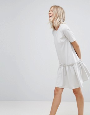 photo Swing Dress with Ruffle Dropped Hem and Tie Back by ASOS, color Pale Grey - Image 2