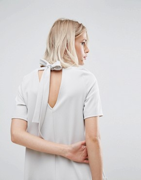 photo Swing Dress with Ruffle Dropped Hem and Tie Back by ASOS, color Pale Grey - Image 3