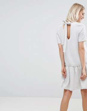 photo Swing Dress with Ruffle Dropped Hem and Tie Back by ASOS, color Pale Grey - Image 1