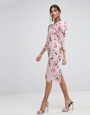 photo Midi Dress with Puff Sleeve and Cut Out Back in Floral Print by ASOS, color Floral Print - Image 2