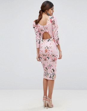 photo Midi Dress with Puff Sleeve and Cut Out Back in Floral Print by ASOS, color Floral Print - Image 1