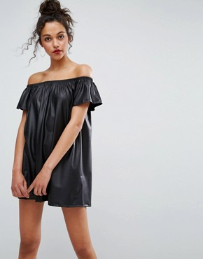photo Faux Leather Off Shoulder Mini Dress by ASOS, color Black - Image 1