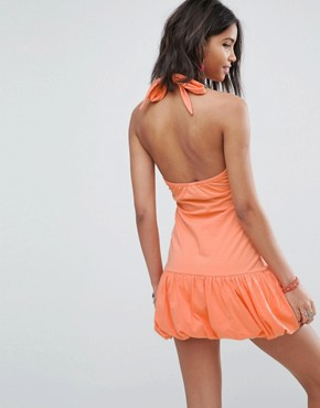 photo Mini Halterneck Bodycon Sundress with Bubble Hem by ASOS, color Peach - Image 2